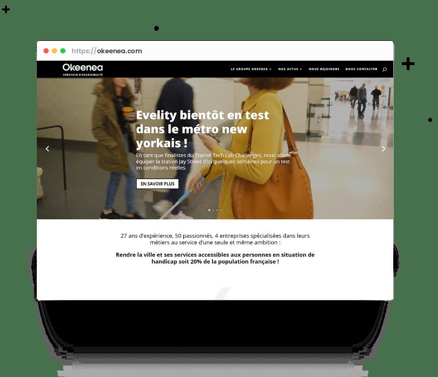 Page d'accueil du site Okeenea, présenté dans une fenêtre de navigateur.