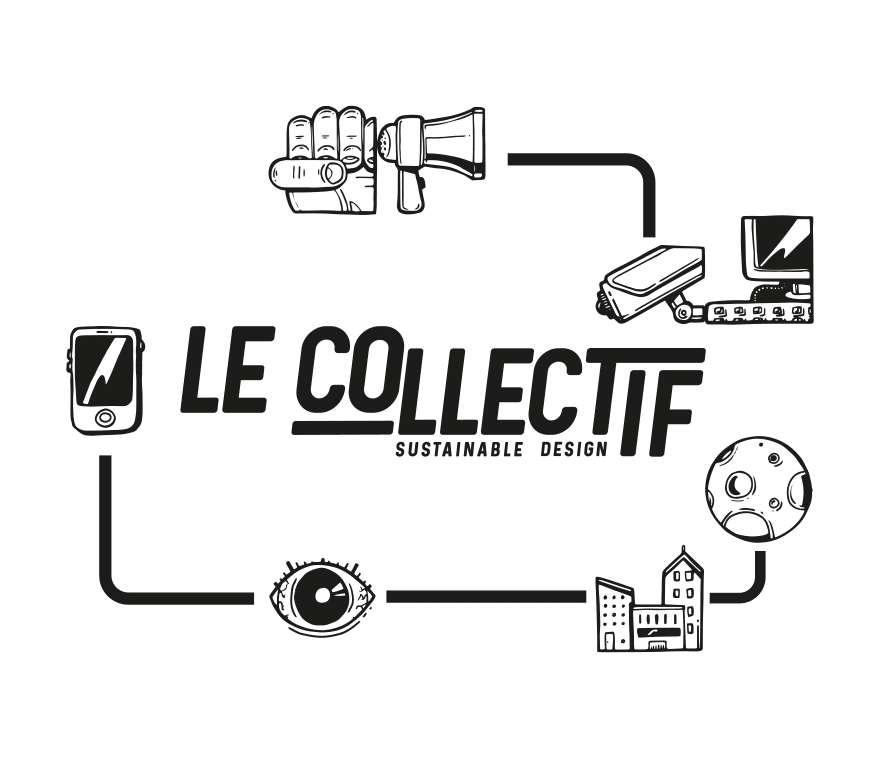Identité visuelle du collectif sustainable design, composé d'un logo et de plusieurs pictogramme représentant l'entreprise gravitant autour .